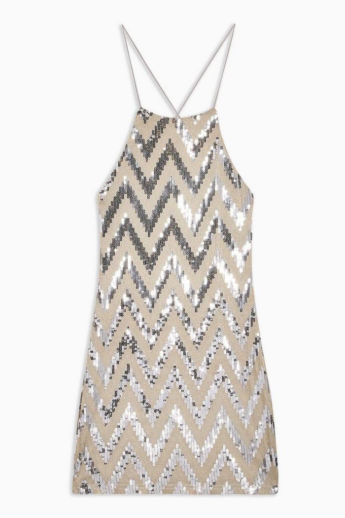 Zig Zag Sequin Halter Neck Mini Dress | Topshop stone