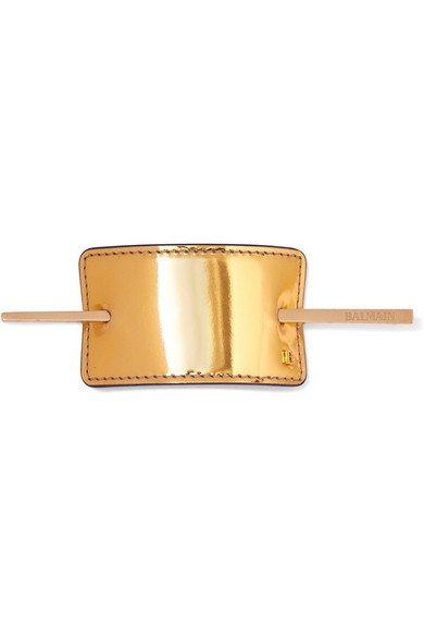 Balmain Paris Hair Couture | Gold-tone and metallic leather hairclip | NET-A-PORTER.COM