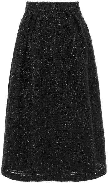 Metallic Tweed Midi Skirt - Black