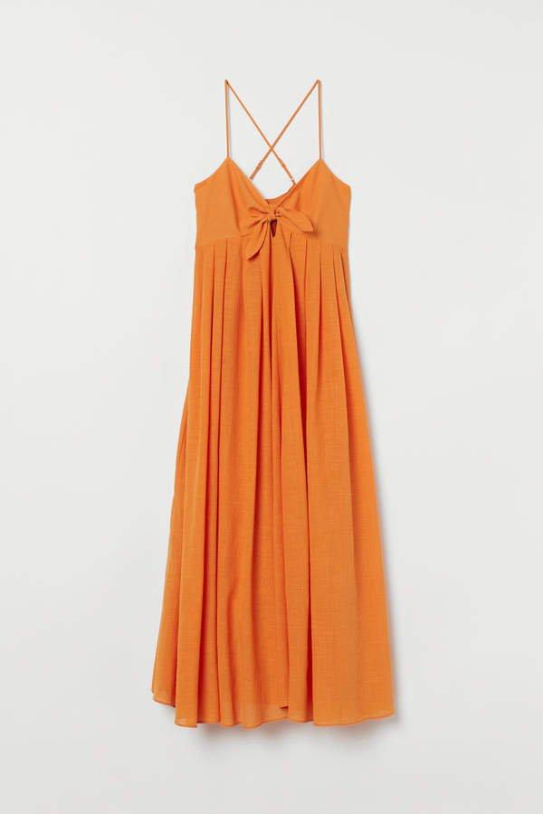 Dress with Tie Detail - Orange