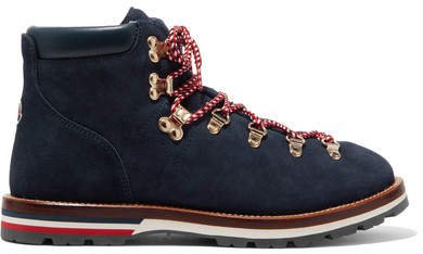 Blanche Shearling-lined Suede Ankle Boots - Navy