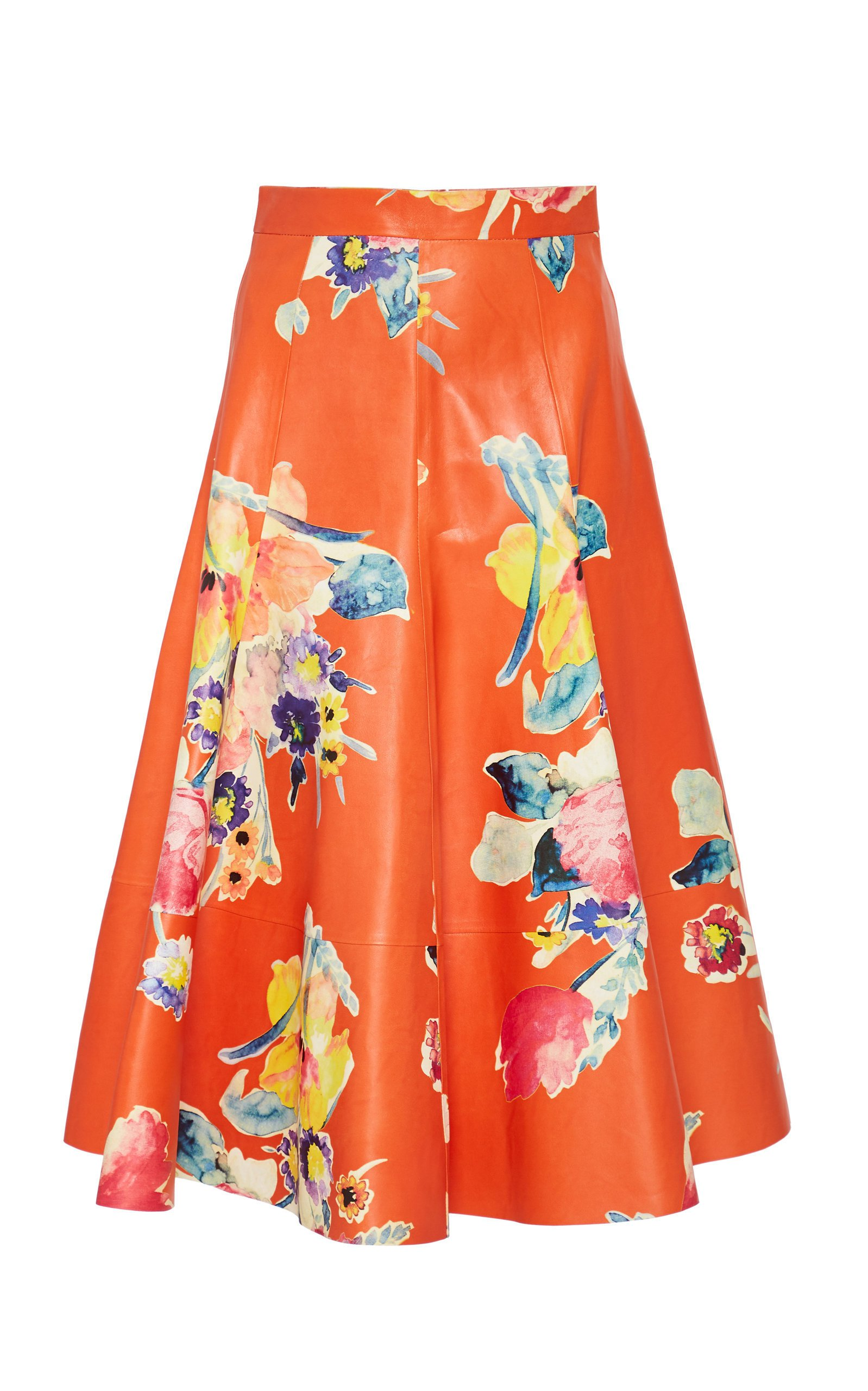Ralph Lauren Clyde Floral Leather A-Line Skirt