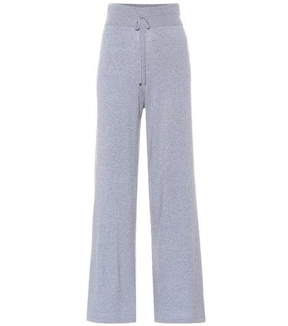 Wide-leg stretch knit sweatpants