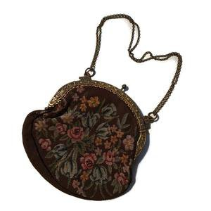 Cocoa Garden Flower Design Petit Point Embroidered Handbag w/ Swans ci – Dorothea's Closet Vintage