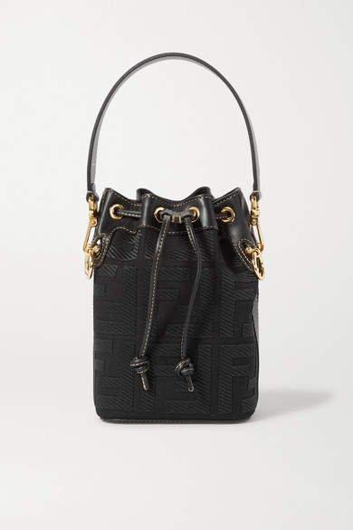 Mon Tresor Mini Leather-trimmed Canvas Bucket Bag - Black