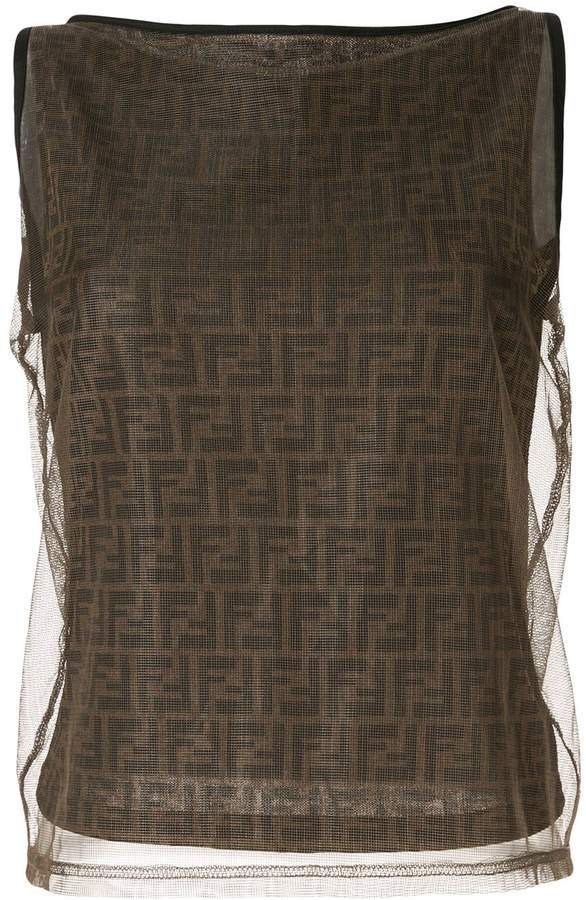 Pre-Owned mesh Zucca pattern sleeveless top