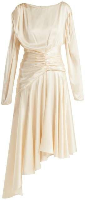 Amber Silk Satin Midi Dress - Womens - Ivory