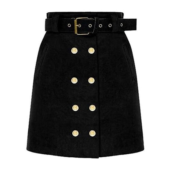 Generic Women's Fall Double Breasted Suede High-waisted Bodycon Mini Skirt