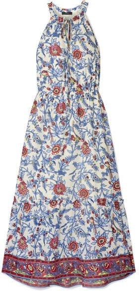Ruffle-trimmed Floral-print Cotton-voile Maxi Dress - Blue