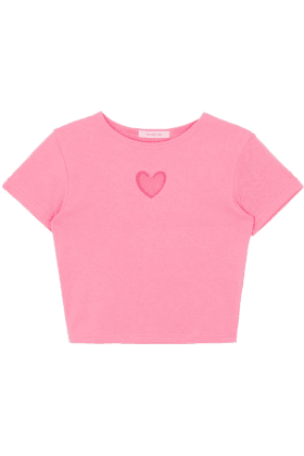 Heart Cut Out Crop Top Pink