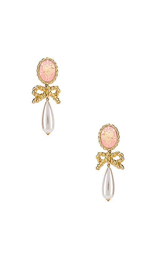For Love & Lemons Cameo Pearl Drop Earrings in Vintage Gold | REVOLVE