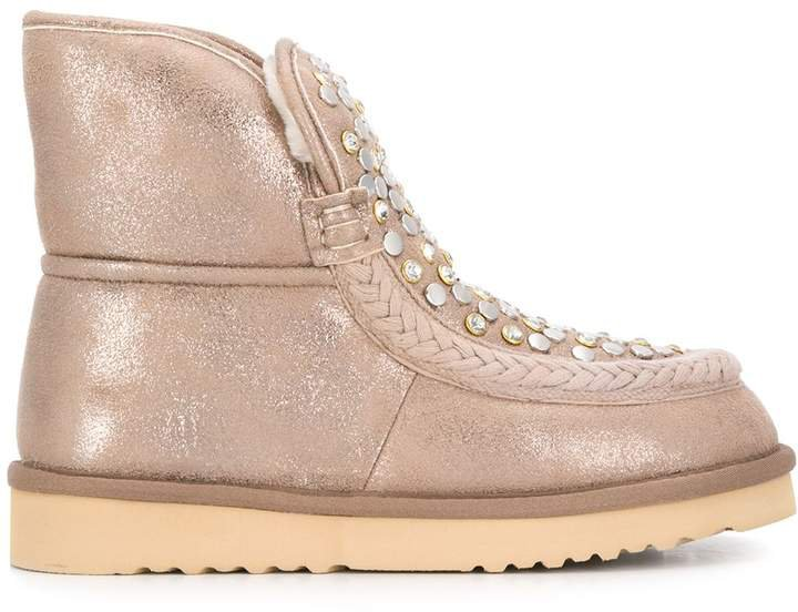 flat embellished boots