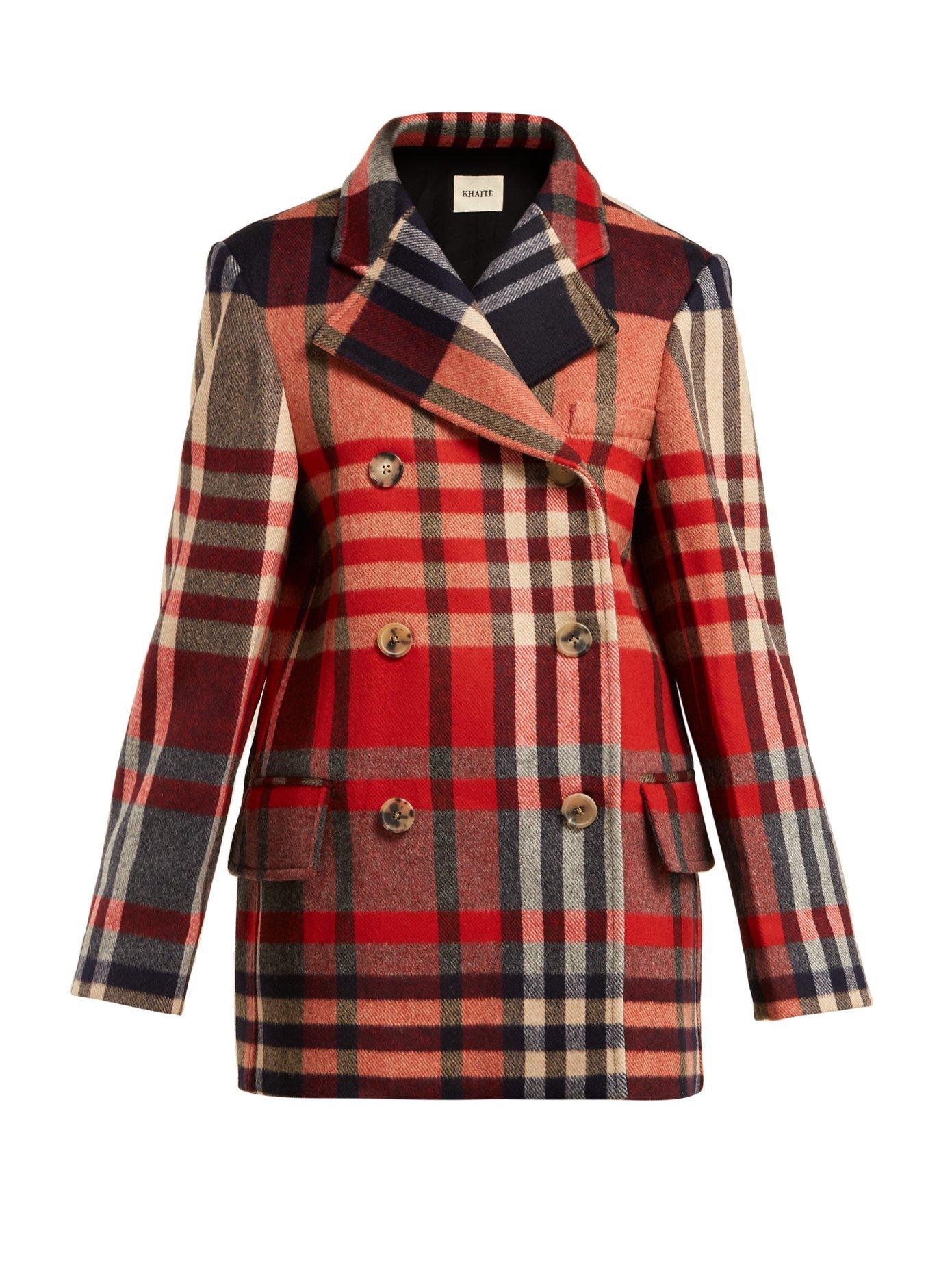 Clara double-breasted checked wool-blend coat | Khaite | MATCHESFASHION.COM