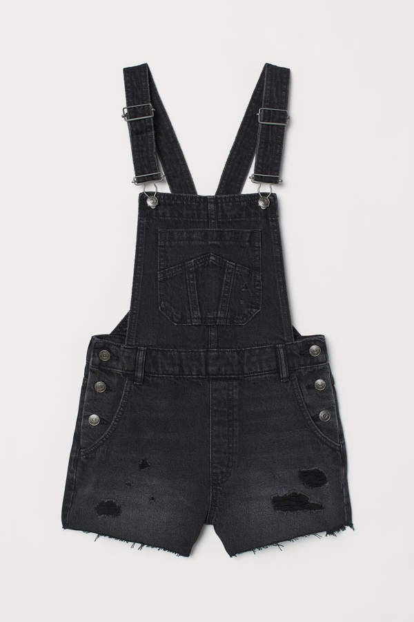 Denim Bib Overall Shorts - Black