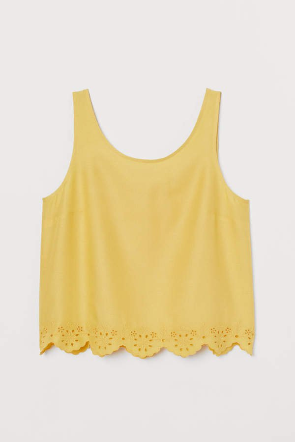 Scallop-hem Tank Top - Yellow
