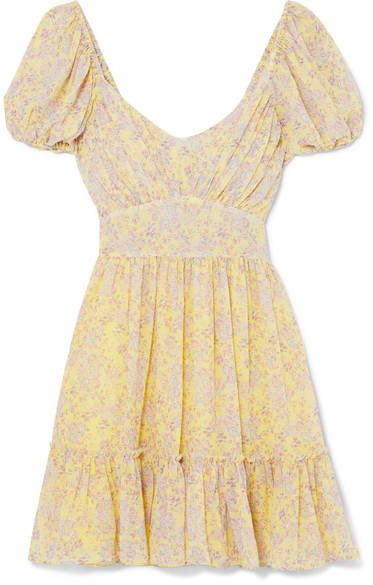 Ashley Gathered Floral-print Silk-georgette Mini Dress - Pastel yellow