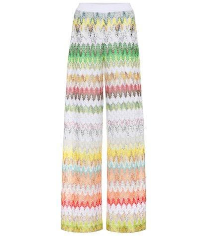 Striped knit wide-leg pants