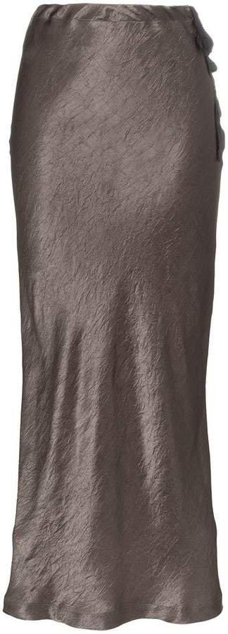 high-waisted silk midi skirt