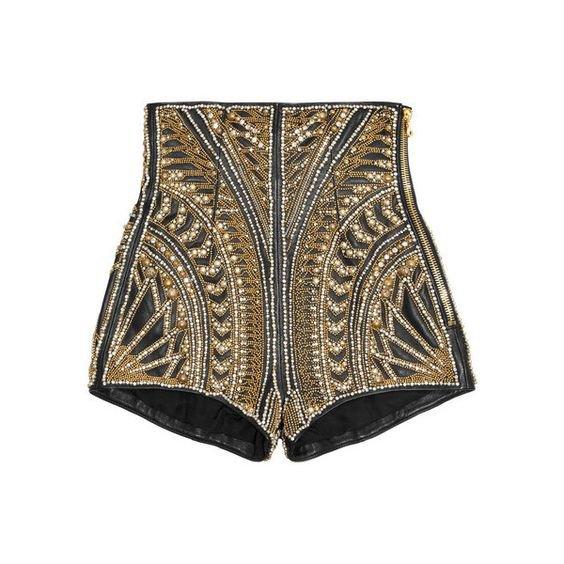 Balmain Embellished leather shorts