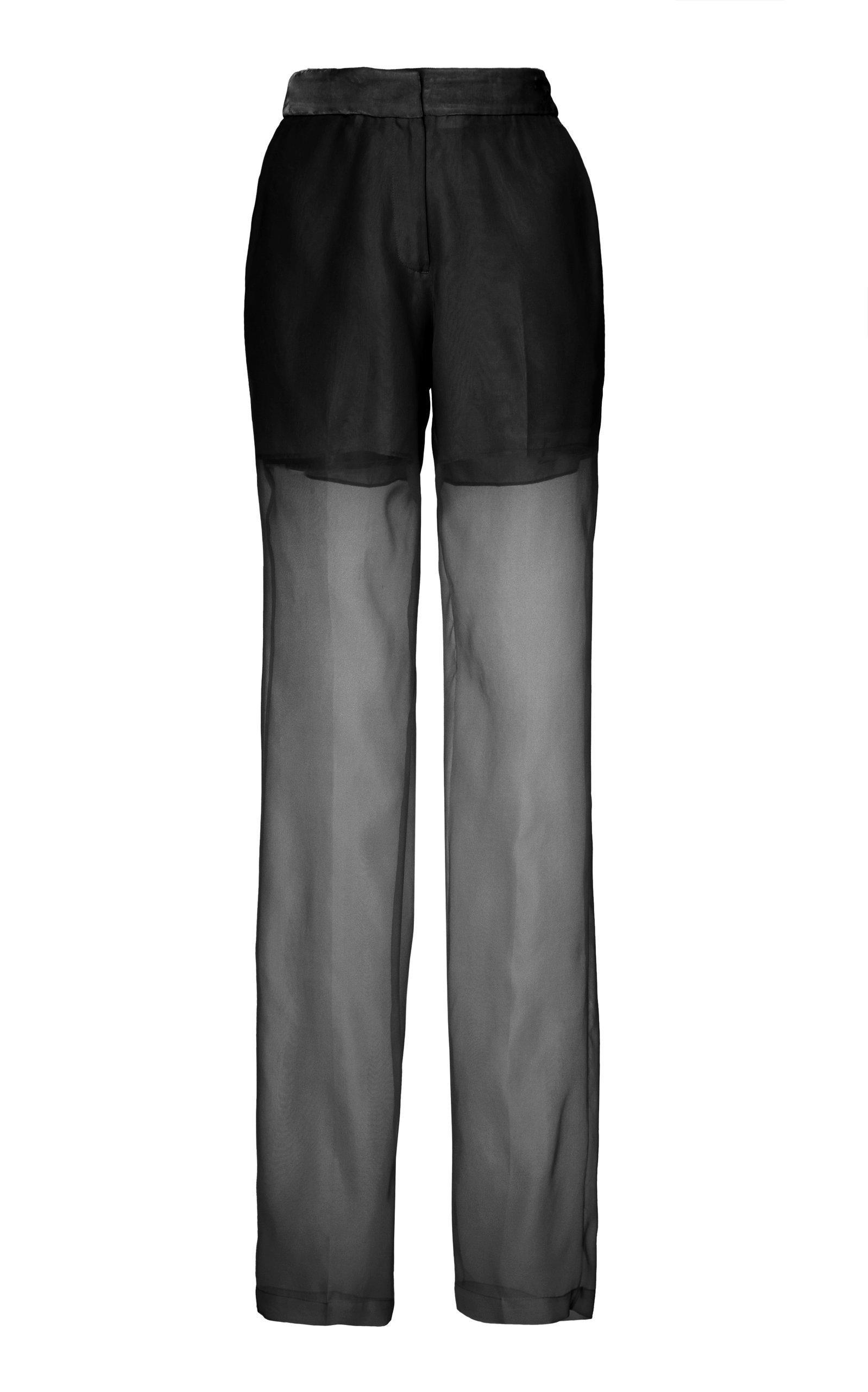 Helmut Lang Sheer Pleated Silk Trousers