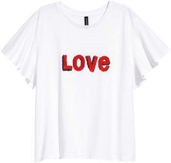 T-shirt with Applique - White