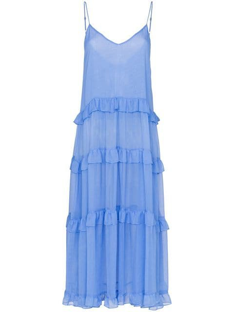 Les Reveries V-neck ruffle silk dress $288 - Buy SS19 Online - Fast Global Delivery, Price