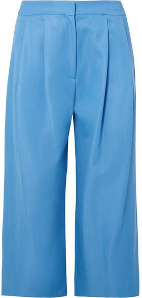 Cropped Pleated Wool-blend Gabardine Culottes - Blue