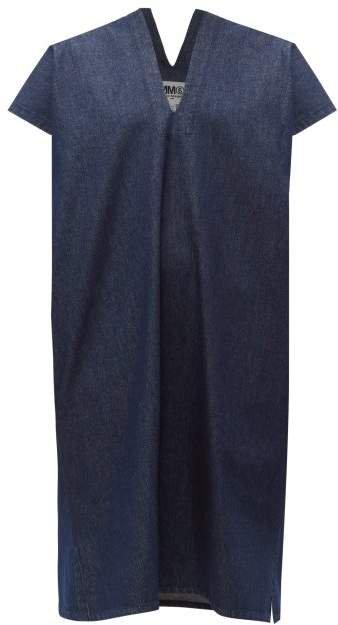 V Neck Raw Denim Dress - Womens - Denim