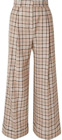Checked Woven Wide-leg Pants - Beige
