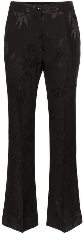 floral jacquard flared trousers