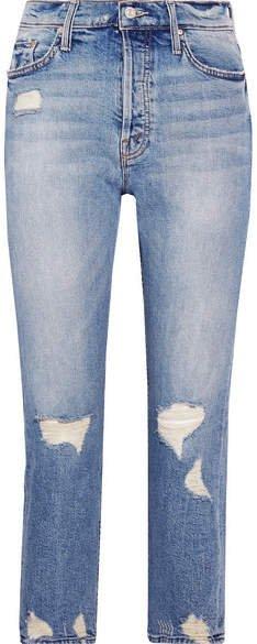 The Tomcat Distressed High-rise Straight-leg Jeans - Light denim