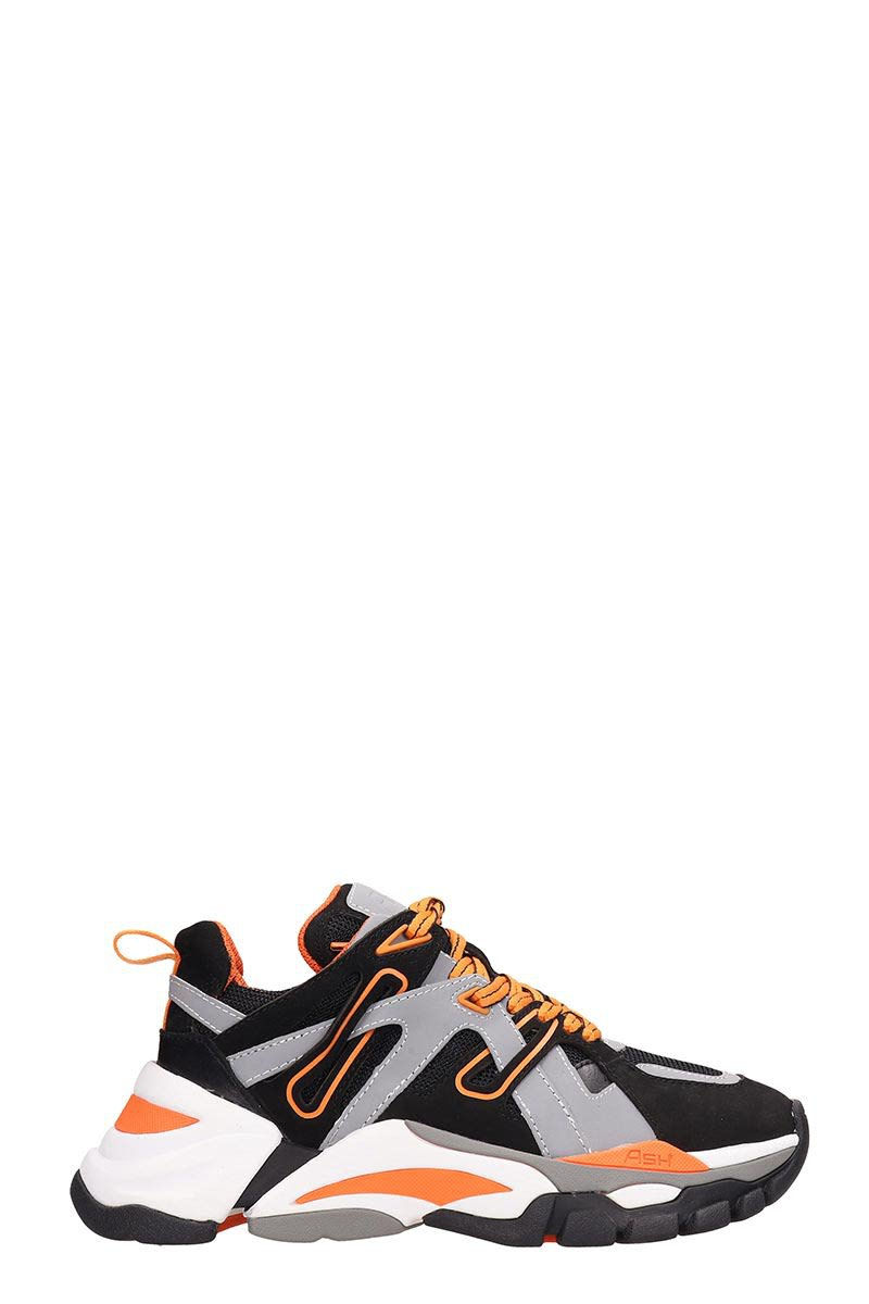 Ash Grey And Orange Fluo Mesh Flash Sneakers