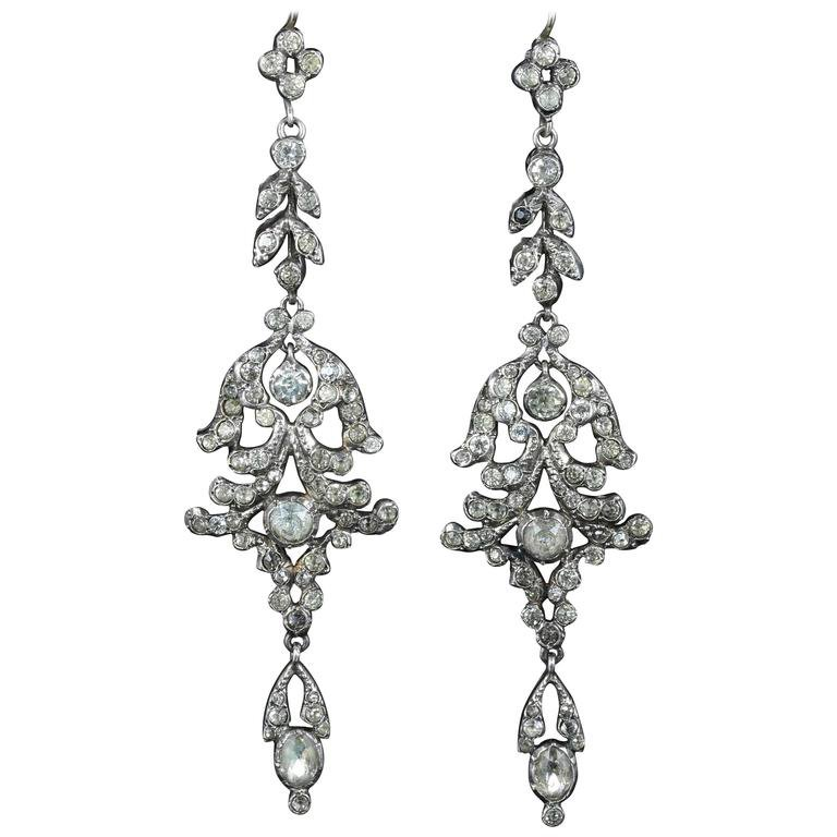Long Paste Silver Earrings For Sale at 1stdibs
