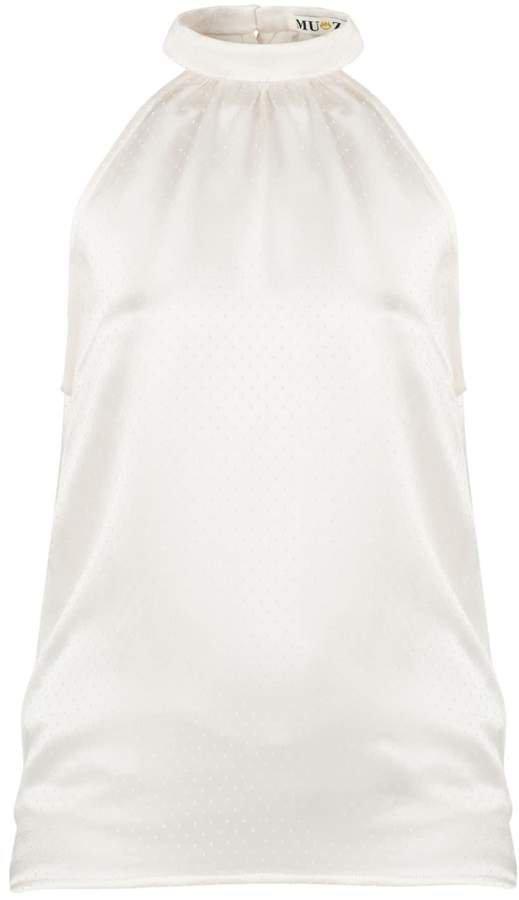 Muza White Sleeveless Halterneck Top