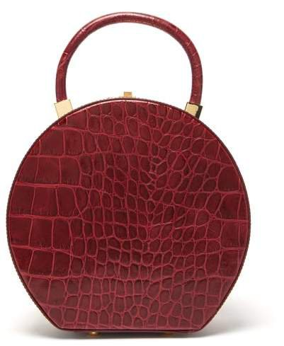 Sparrows Weave - The Round Wicker And Leather Bag - Womens - Burgundy