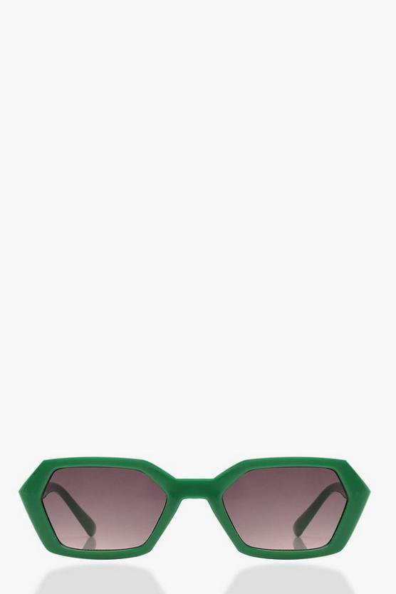 Pointed Sunglasses With Pouch | Boohoo Green