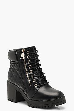 Quilted Zip and Lace Up Hiker Boots