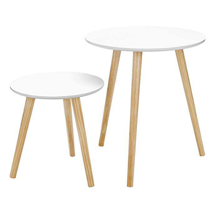 Amazon.com: SONGMICS Modern Minimalist Coffee Table Multi-purpose Side Table Round End Table Night Stand for Living Room Bedroom Set of 2 White ULET07WN: Kitchen & Dining