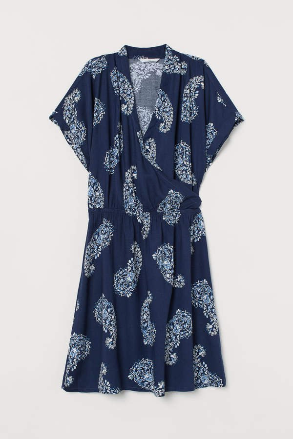 V-neck Dress - Blue