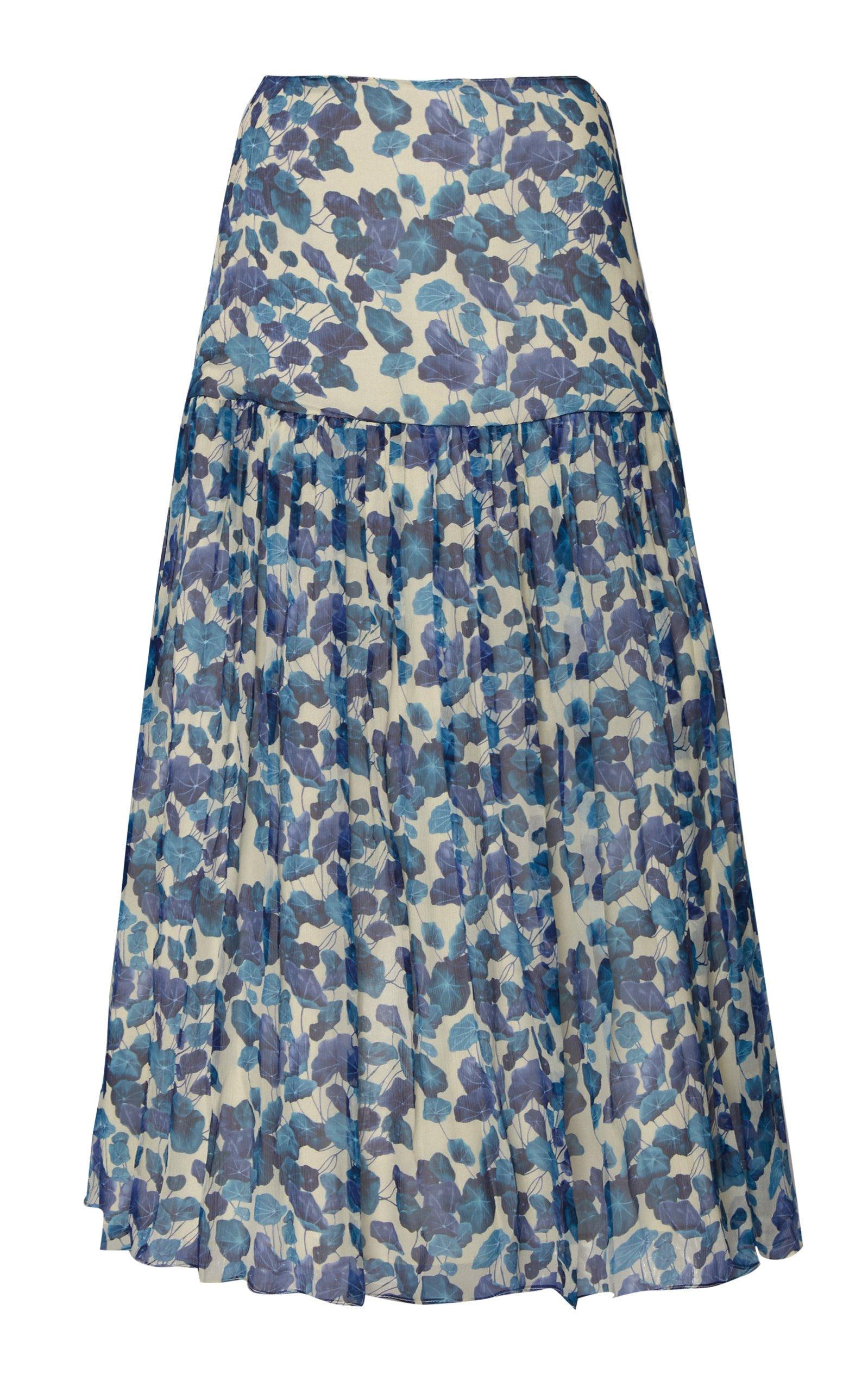 Adriana Degreas Floral Silk Chiffon Midi Skirt