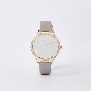 Rose gold rhinestone mesh strap round watch - Watches - women