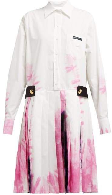 Tie Dye Cotton Shirtdress - Womens - White Multi