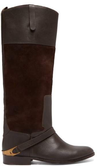Charlye Leather And Suede Knee High Boots - Womens - Dark Brown