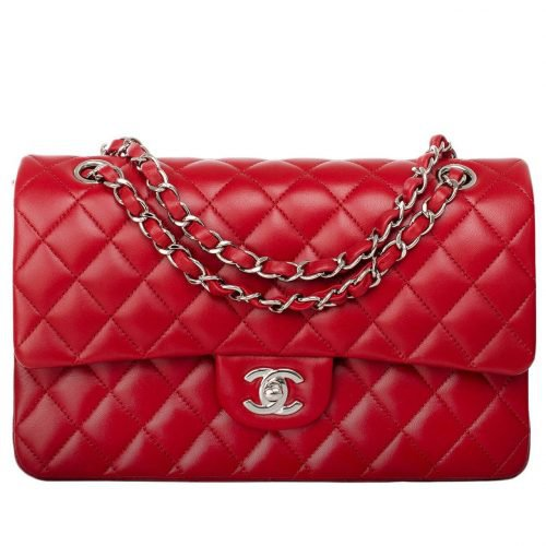 Chanel Classic Flap Bag Medium Red Quilted Lambskin Leather - My Dresscode