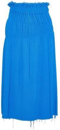 Shirred Boucle Midi Skirt