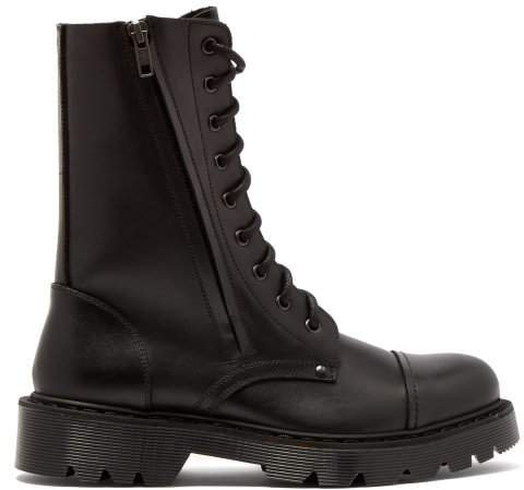 Leather Combat Boots - Womens - Black