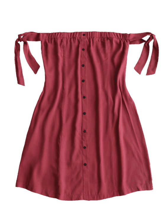 [35% OFF] [HOT] 2019 Tied Button Up Mini Dress In WINE RED S | ZAFUL