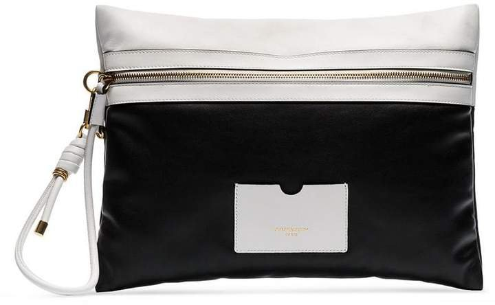 Black and White Tag XL leather clutch bag