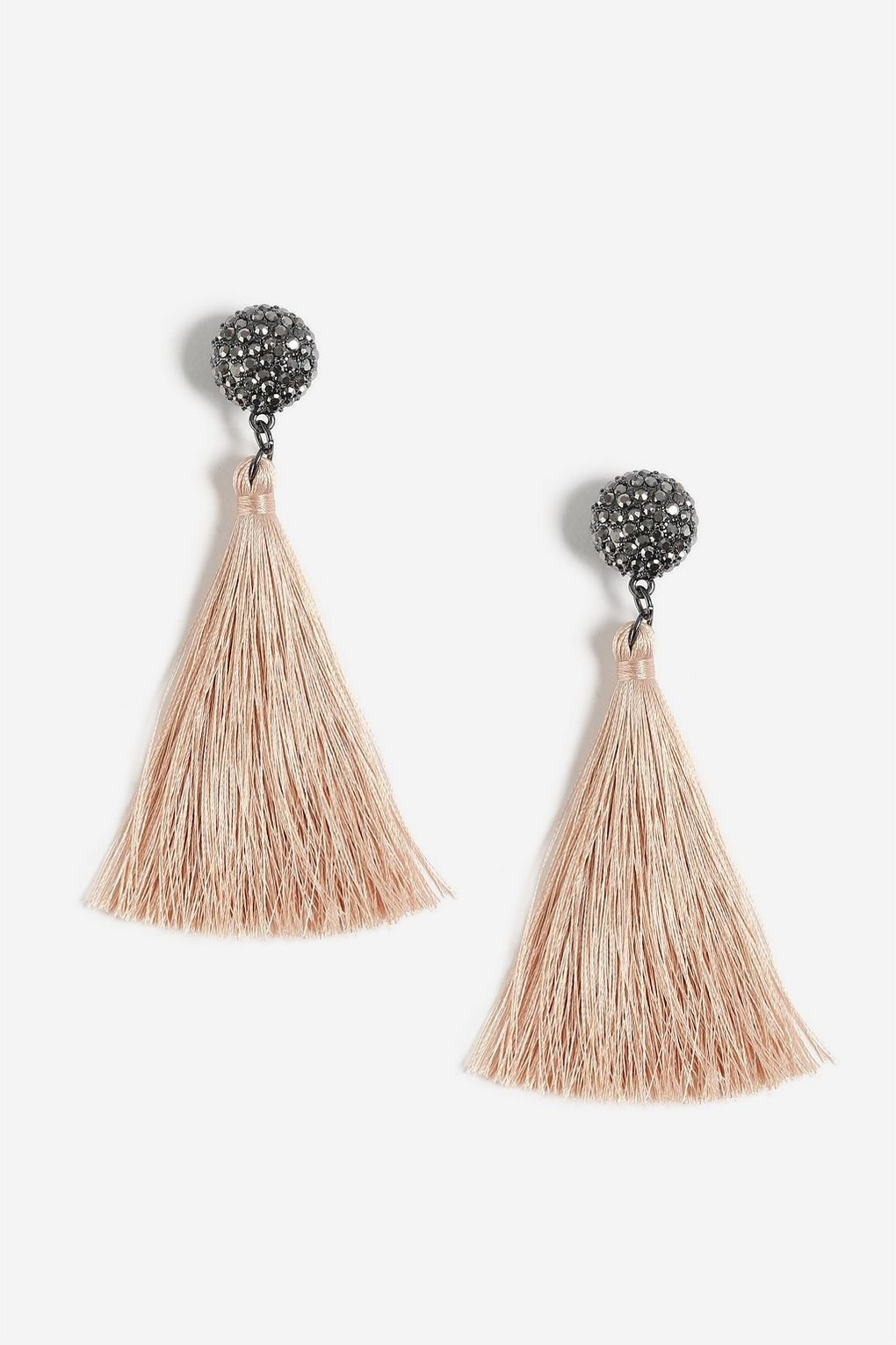 Rhinestone Topper Tassel Drop Earrings - Jewellery - Bags & Accessories - Topshop