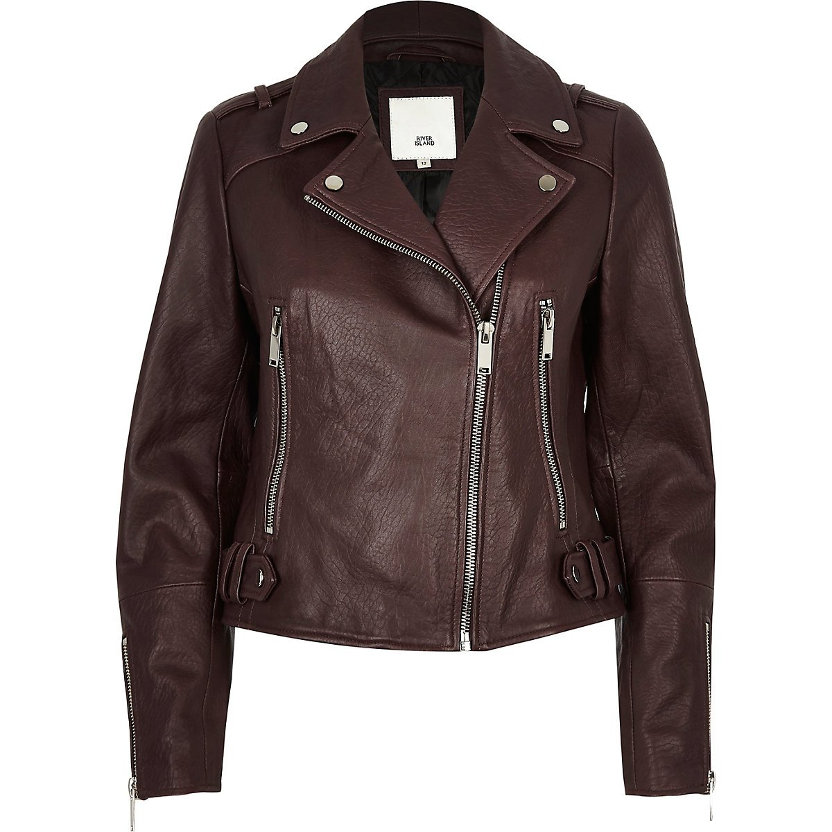 Dark purple leather biker jacket - Jackets - Coats & Jackets - women